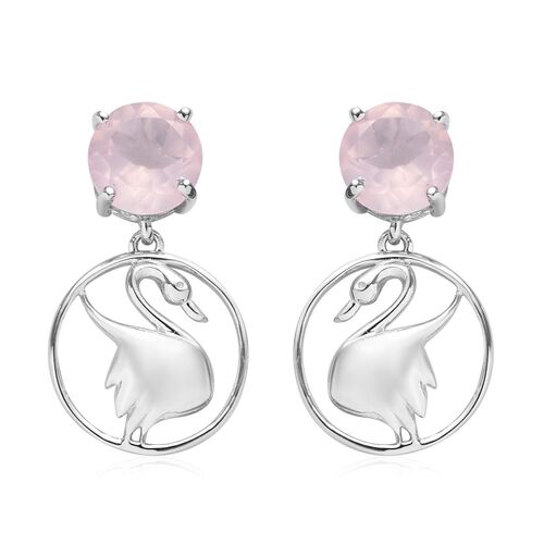 Rose Quartz Earrings (with Push Back) in Platinum Overlay Sterling Silver 3.50 Ct.