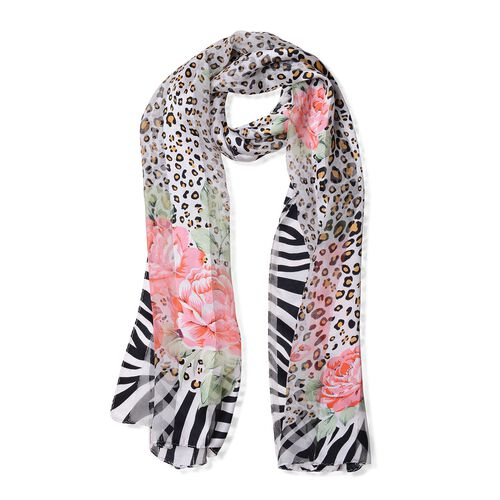 100% Mulberry Silk Peony Red, Green and Multi Colour Rose Flower and Leopard Print Scarf with Zebra