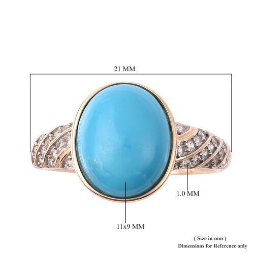 9K Yellow Gold Arizona Sleeping Beauty Turquoise (Ovl 11x9mm), Natural Cambodian Zircon Ring 3.30 Ct.