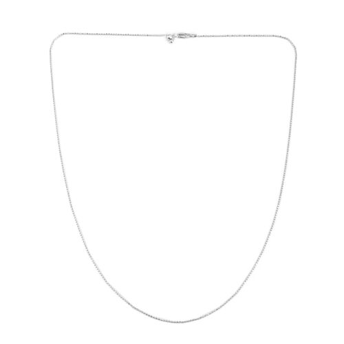 JCK Vegas Collection Rhodium Plated Sterling Silver Adjustable Diamond Cut Bead Chain (Size 24)