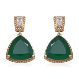 Green Onyx (Trl), Natural White Cambodian Zircon Drop Earrings (with Push Back) in Yellow Gold Overl