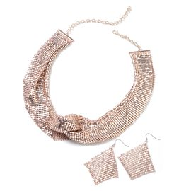Retro Style Collar Necklace (Size 22) and Earrings in Rose Tone