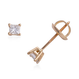 ILIANA 18K Yellow Gold EGL Certified (SI/G-H) Diamond (Princess) Stud Earrings (with Screw Back) 0.2