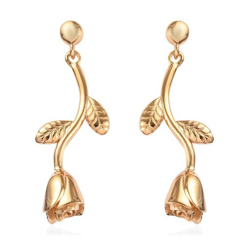 14K Gold Overlay Sterling Silver Floral Earrings (with Push Back), Silver wt 6.30 Gms