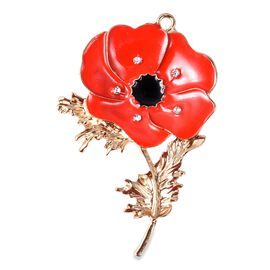 TJC Poppy Design - White Austrian Crystal Enamelled Poppy 2-in-1 Brooch and Pendant with Chain (Size