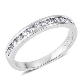 ILIANA 18K White Gold 0.35 Ct Diamond Half Eternity Band Ring IGI Certified (SI/G-H)