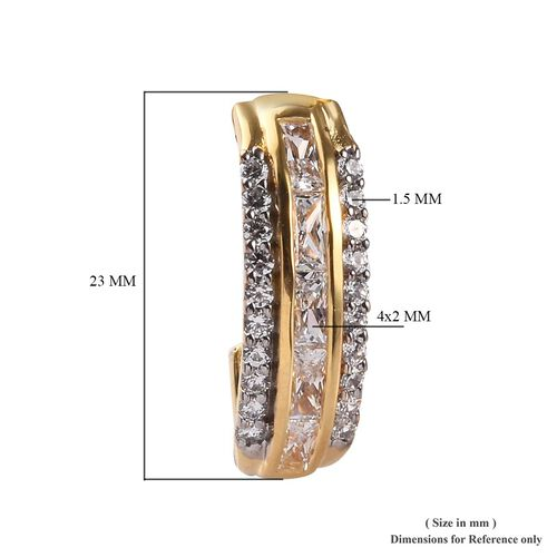 J Francis - 14k Yellow Gold Overlay Sterling Silver Earrings (with Push Back) Made with SWAROVSKI ZIRCONIA  2.71 Ct.