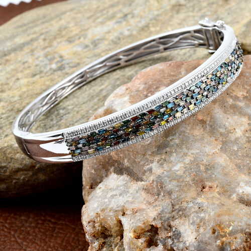 Multi Colour Diamond (Bgt) Bangle (Size 7.5) in Platinum Overlay Sterling Silver 2.510 Ct, Silver wt 22.24 Gms