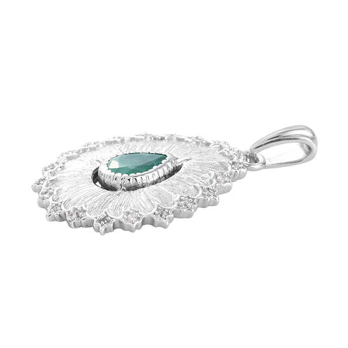 GP Italian Garden Leaf and Flower - Kagem Zambian Emerald, Natural Cambodian Zircon and Blue Sapphire Pendant in Platinum Overlay Sterling Silver