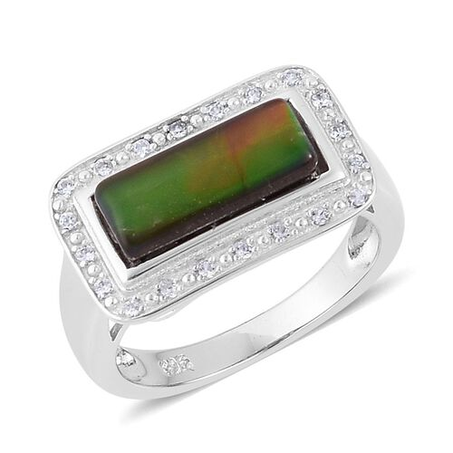 Canadian Ammolite (Bgt 1.75 Ct), Simulated White Diamond Ring in Rhodium Plated Sterling Silver 1.850 Ct.