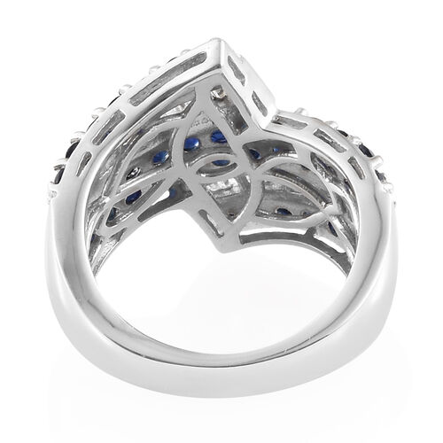 Kanchanaburi Blue Sapphire (Rnd), Diamond Ring in Platinum Overlay Sterling Silver 2.250 Ct, Silver wt 6.01 Gms.