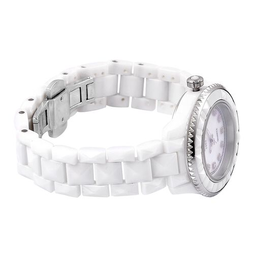 EON Swiss Movement Diamond Studded MOP Dial 10ATM Water Resistant Watch in Silver Tone with Stainless Steel Back and White Colour Ceramic Strap