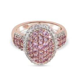 Pink Sapphire and Natural Cambodian Zircon Cluster Ring in Rose Gold Sterling Silver 1.830 Ct.