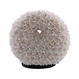 Bali Collection - Decorative Shell Lamp with Frangipani Motif DUNOT (Size:27X27X15X10Cm) - White