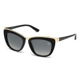 SWAROVSKI Cat Eye Black Sunglasses With Gold Trim