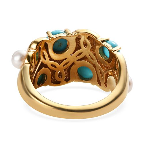 Arizona Sleeping Beauty Turquoise, Freshwater Pearl and Natural Cambodian Zircon Ring in 14K Gold Overlay Sterling Silver 2.30 Ct.