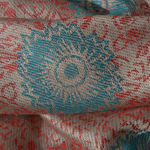 Beige, Red and Multi Colour Flower Pattern Jacquard Scarf (Size 190x70 Cm)