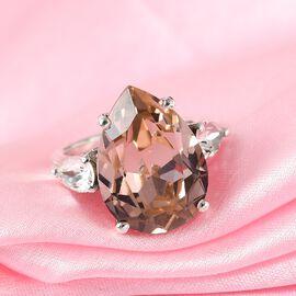 J Francis Crystal From Swarovski Vintage Rose & White Crystal Ring in Platinum Overlay Sterling Silver