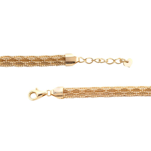 One Time Close Out-Hand Made 9K Yellow Gold Fancy Omega Bracelet (Size 7 with 1 inch Extender), Gold wt 9.62 Gms