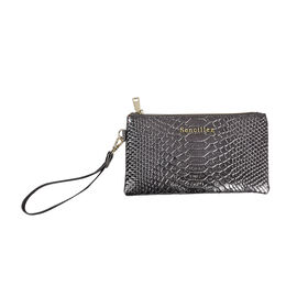 Sencillez 100% Gneuine Leather RFID Snake-Skin Embossed Clutch Wallet in Olive Green