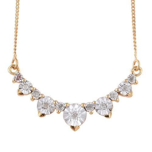 Diamond (Rnd) Necklace with Chain (Size 18 with 2 inch Extender) in 14K Gold and Silver Overlay Sterling Silver 0.100 Ct.