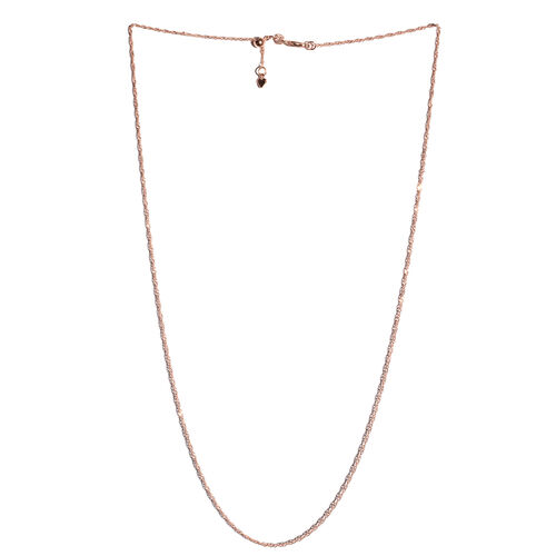 Italian Made-Rose Gold Overlay Sterling Silver Adjustable Diamond Cut Singapore Necklace (Size 24), Silver wt 3.10 Gms.