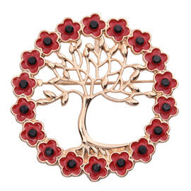 TJC Poppy Design - Set of 3 Black Austrian Crystal Poppy Tree-of-Life Brooch and Pendant With Chain