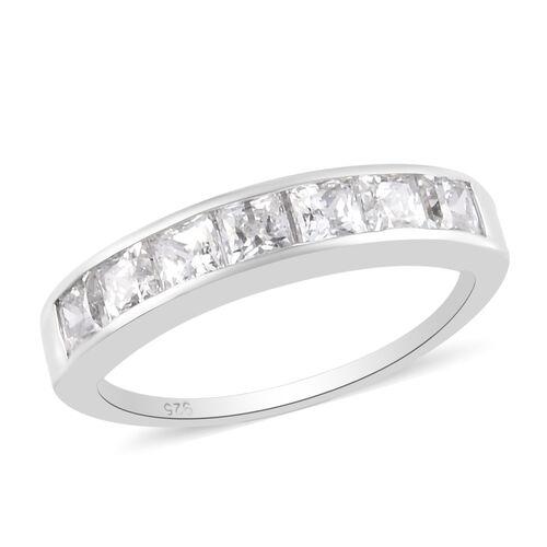 J Francis Platinum Overlay Sterling Silver Half Eternity Band Ring Made with SWAROVSKI ZIRCONIA 1.25