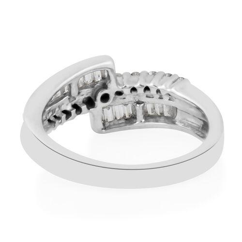 14K White Gold (I1/G-H) Diamond (Rnd) Bypass Ring 0.407 Ct.