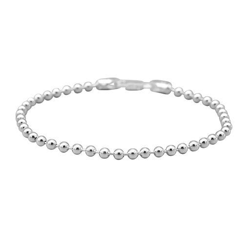 Italian Made - Sterling Silver Ball Bracelet (Size 7.5)