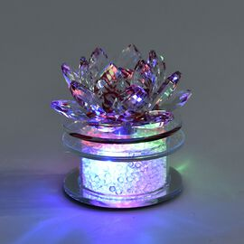 Crystal Lotus Flower Table Lamp with Multicolour LED and Rotating Base (Size 10x10 Cm) - Red