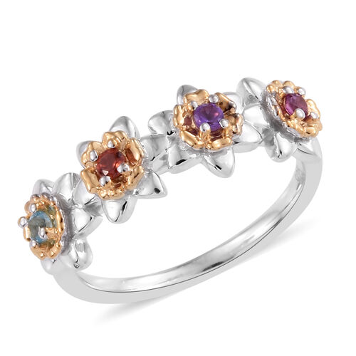 Mozambique Garnet (Rnd), Rhodolite Garnet, Amethyst and Blue Topaz Floral Ring in Platinum and Yello