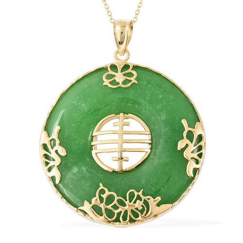 80.10 Ct Green Jade Circle Pendant With Chain in 14K Gold Plated Sterling Silver