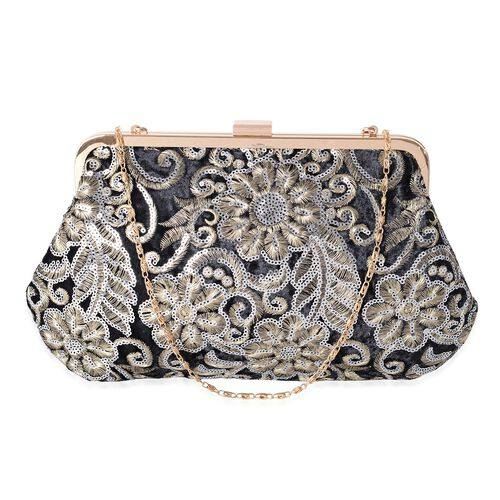 Luxury Black Brocade Embroidery with Sparkling Sequin Embellished Large Clutch  (Size 29x18 Cm)