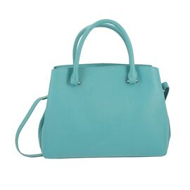 100% Genuine Leather Shoulder Bag with Detachable Strap (Size 34.5x10.5x25 Cm) - Turquoise