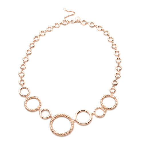 RACHEL GALLEY Allegro Collection - Rose Gold Overlay Sterling Silver Circular Link Necklace (Size 18