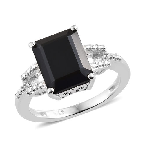 Boi Ploi Black Spinel (Oct 10x8 mm), Single Cut Diamond Ring in Sterling Silver 4.000 Ct.