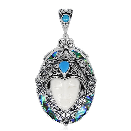 Princess Bali Collection OX Bone Carved Face, Arizona Sleeping Beauty Turquoise and Abalone Shell Pendant in Sterling Silver 35.000 Ct.Silver Wt 10.50 Gms