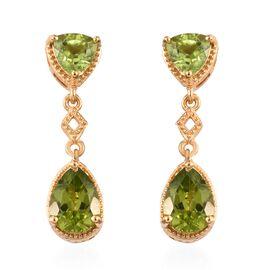 4.75 Ct Hebei Peridot Dangle Earrings in Gold Plated Sterling Silver 4.26 Grams