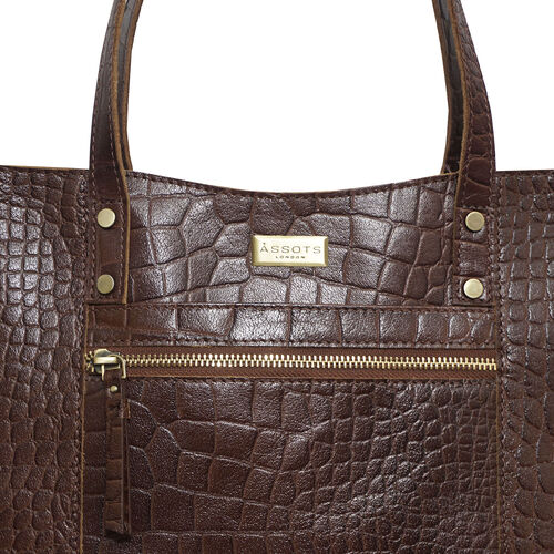 Assots London HELENE - 100% Genuine Croc Leather Handbag (Size 39x26x10cm) - Brown