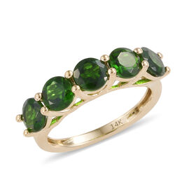 New York Close Out- 14K Yellow Gold AAAA Russian Diopside (Rnd) Five Stone Ring 2.850 Ct.
