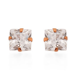 New York Close Out Deal - 9K Rose Gold Cubic Zirconia Stud Earrings (with Push Back)