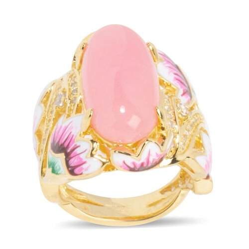 Pink Jade (Ovl 20x10 mm), Natural Cambodian White Zircon Ring in Yellow Gold Overlay with Enameling