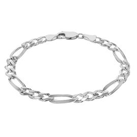 JCK Vegas Collection 8 Inch Figaro Bracelet in Rhodium Plated Sterling Silver 12.90 grams