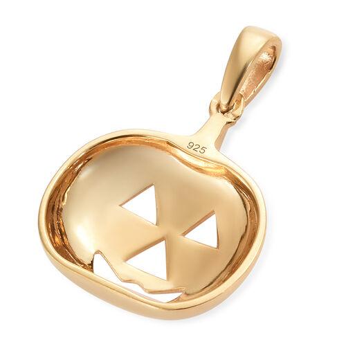14K Gold Overlay Sterling Silver Devil Pumpkin Pendant