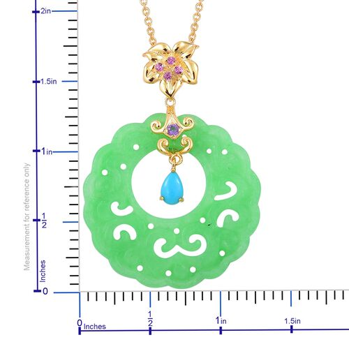 Limited Edtion-Rare Carved Green Jade, Arizona Sleeping Beauty Turquoise, Amethyst and Rhodolite Garnet Floral Pendant With Chain in Yellow Gold Overlay Sterling Silver 18.670 Ct.