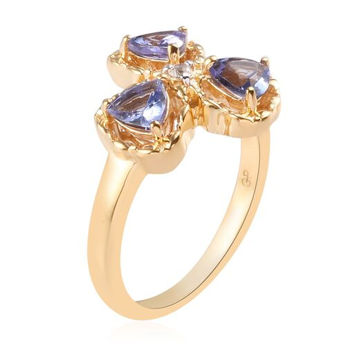 GP - Tanzanite, Natural Cambodian Zircon and Blue Sapphire Shamrock Three Leaf Clover Ring in 14K Gold Overlay Sterling Silver