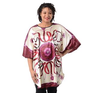 Women's Printed Short Sleeves Kaftan - White and Beige