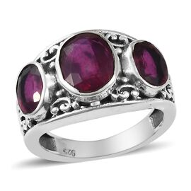 4.34 Ct African Ruby Trilogy Ring in Oxidised Sterling Silver