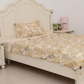 3 Pcs Single Set Cream Colour Fitted Sheet, Duvet Cover and 1 Pillow Case